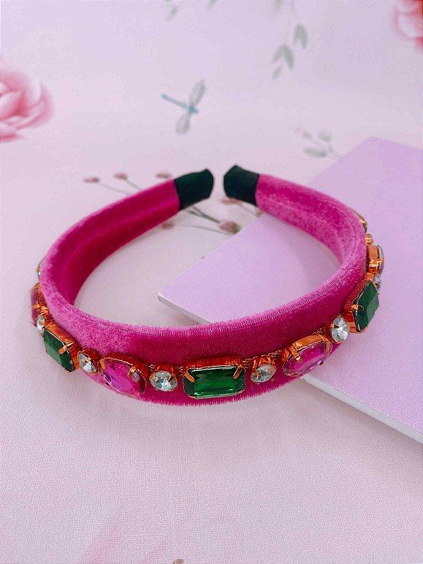 Arco veludo rosa com pedraria