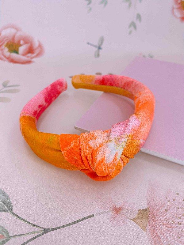 Arco nó tie dye - laranja, rosa e amarelo