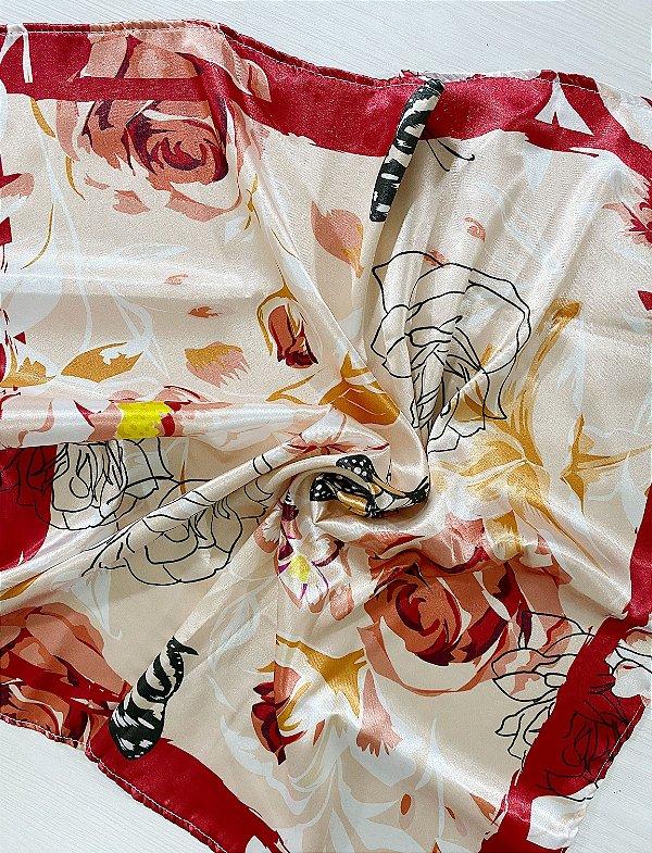 Lenço Rosas e Borboletas
