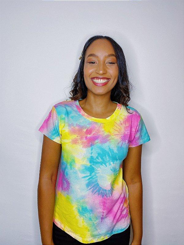 Blusa Tie Dye - rosa, amarelo e azul