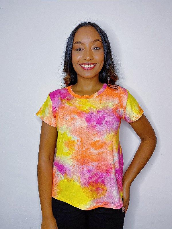 Blusa Tie Dye - amarela, rosa e laranja