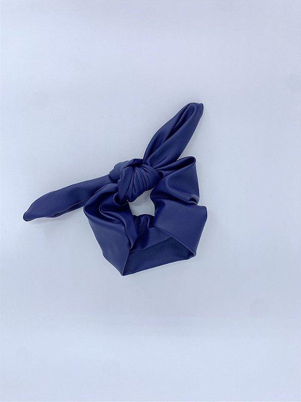 Scrunchie de couro sintético - azul