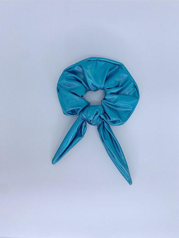 Scrunchie metalizado - azul