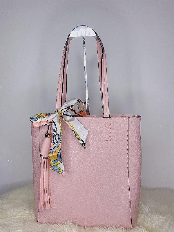 Bolsa Retangular com Lenço e pingente - Rosê