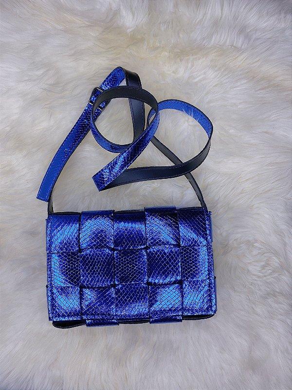 Bolsa trançada - azul escuro metálico