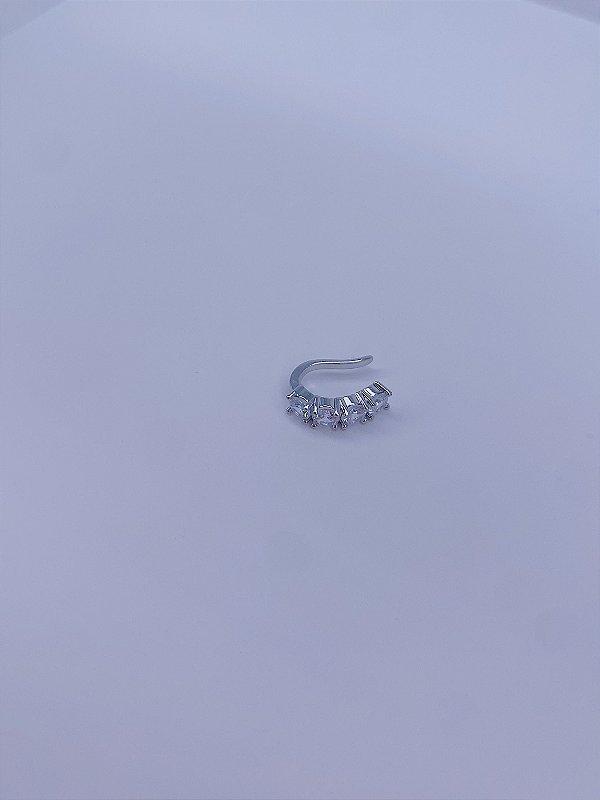 Piercing fake prata com pedras - branco,colorido ou preto