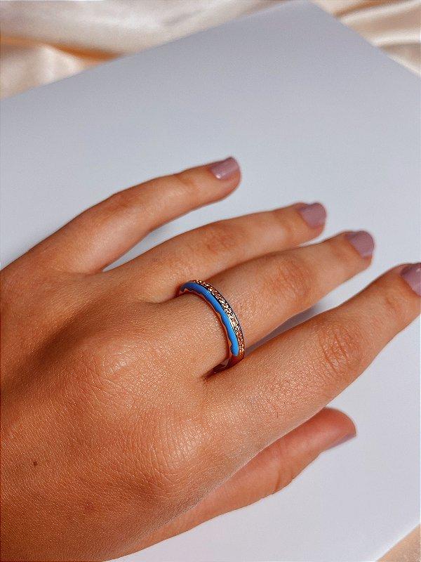 Azul esmaltado strass - azul clarp