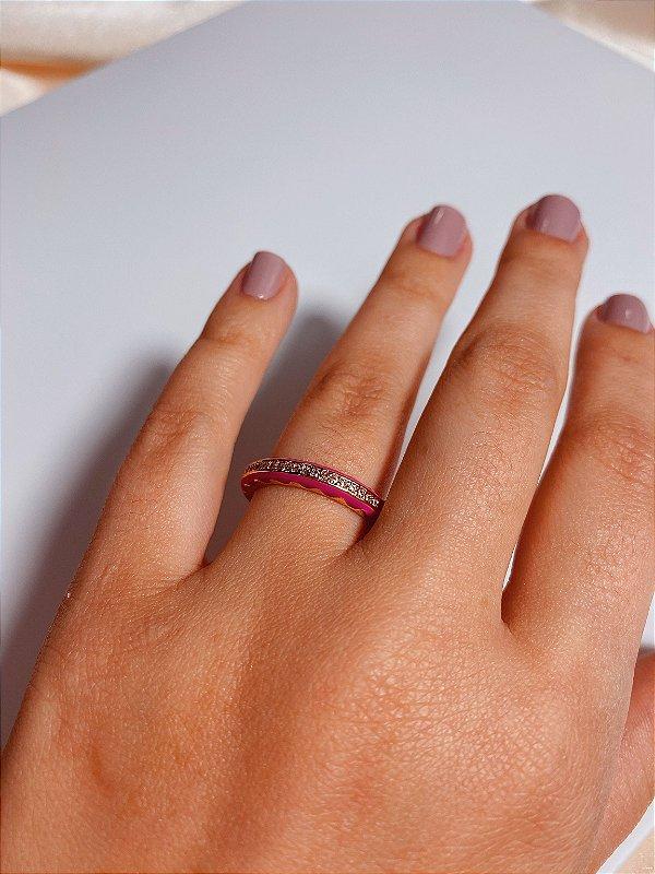 Anel esmaltado strass - rosa