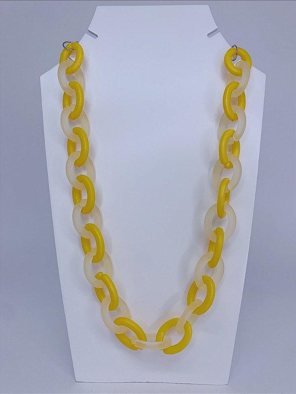 Colar elos de acrílico com transparência - amarelo