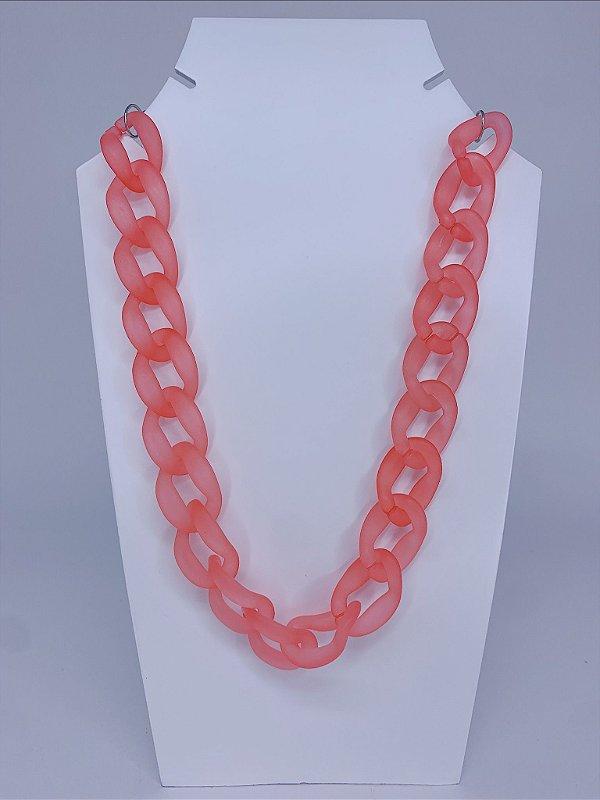 Colar elos de acrílico transparente - rosa