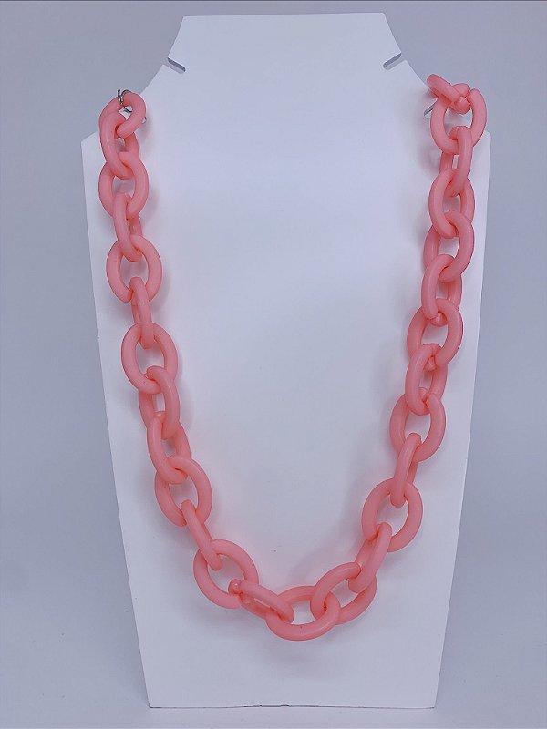 Colar elos de acrílico - rosa