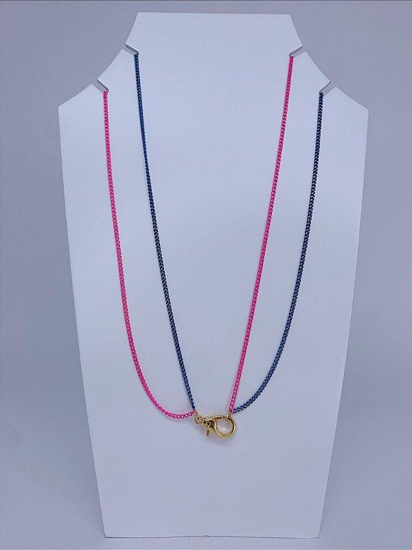 Corrente dupla fininha - rosa com azul