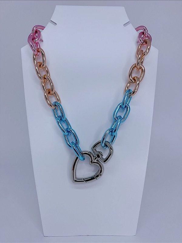 Corrente mosquetão coração - colorida