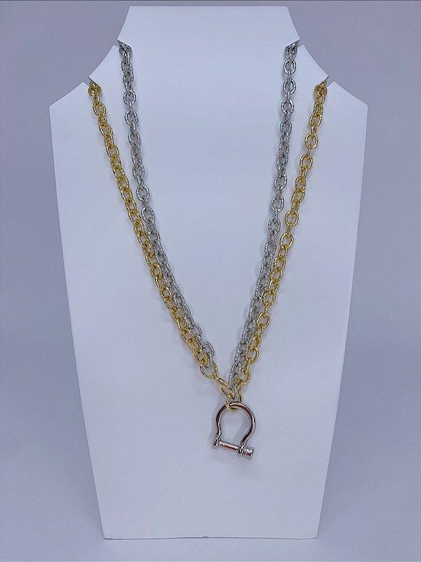 Corrente dupla - prata e dourada