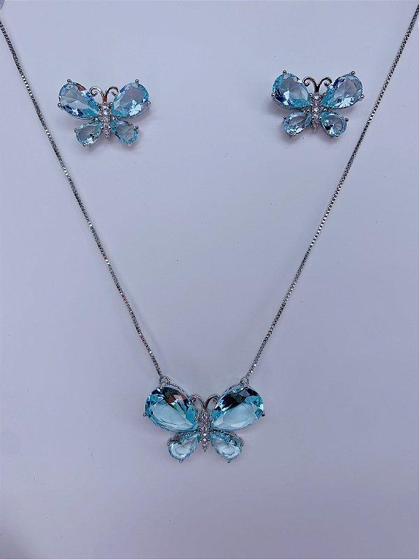 Conjunto borboleta - prateado