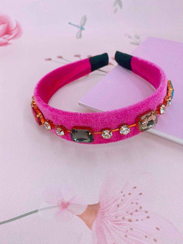 Arco veludo pink com pedras coloridas
