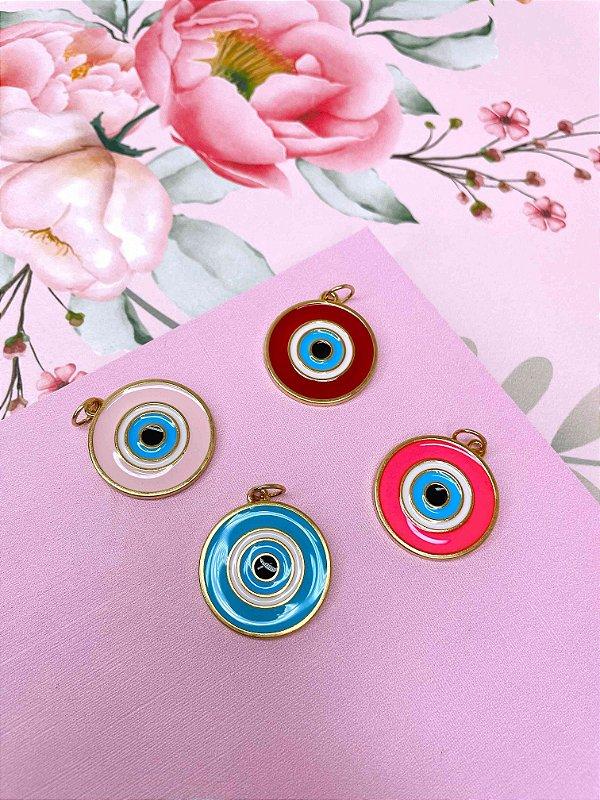 Pingente dourado Olho Grego esmaltado-rosa claro,azul.pink ou vermelho