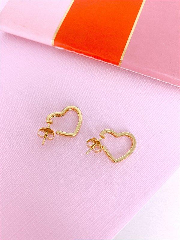 Argola coração Pequena dourada