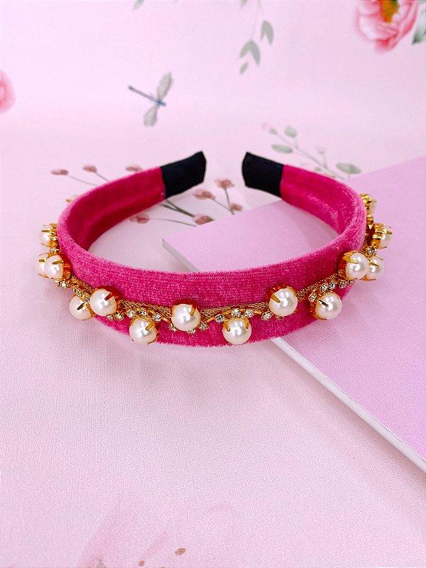 Arco veludo pink com pérolas e strass