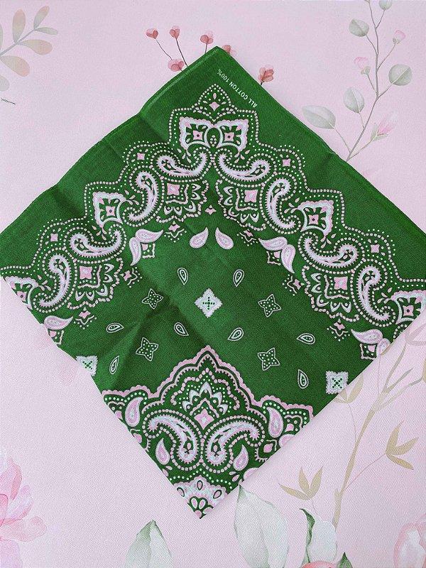 Bandana verde com rosa
