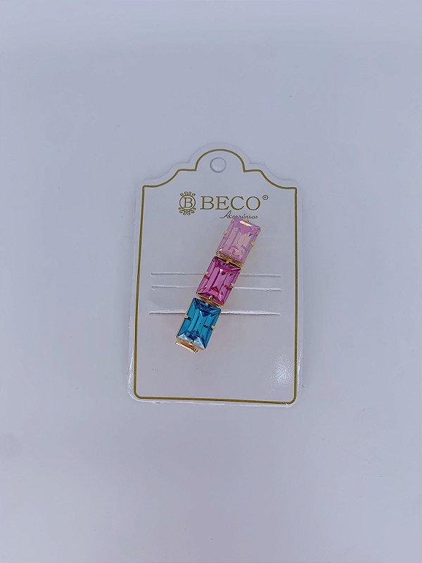 Presilha Lidy- azul, rosa escuro e rosa claro