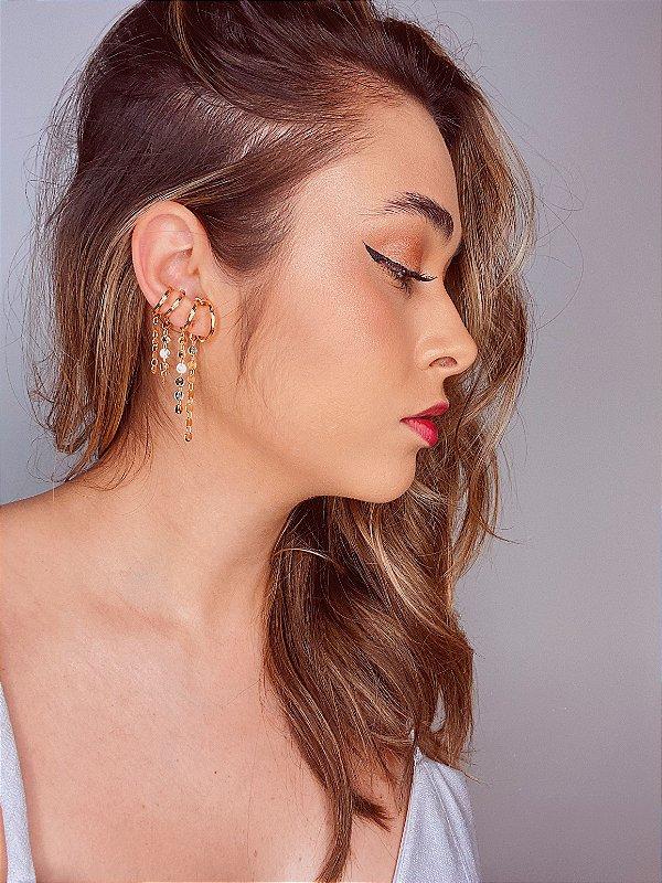 Kit piercings fakes com franja de medalhas