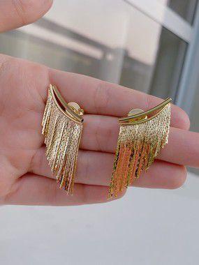 Brinco franjas - dourado ou prata