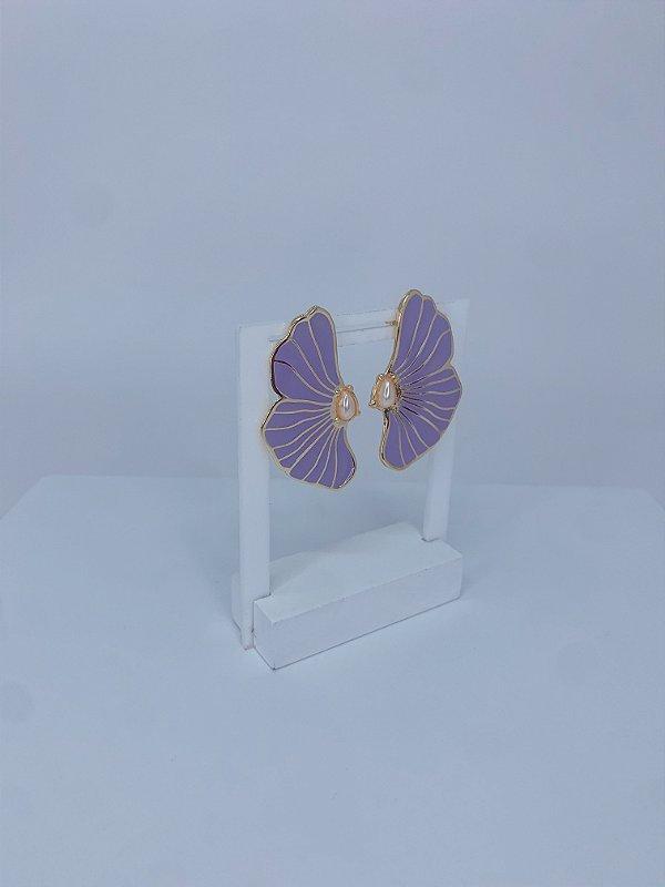 Brinco Afrodite - pétala esmaltada com pérola
