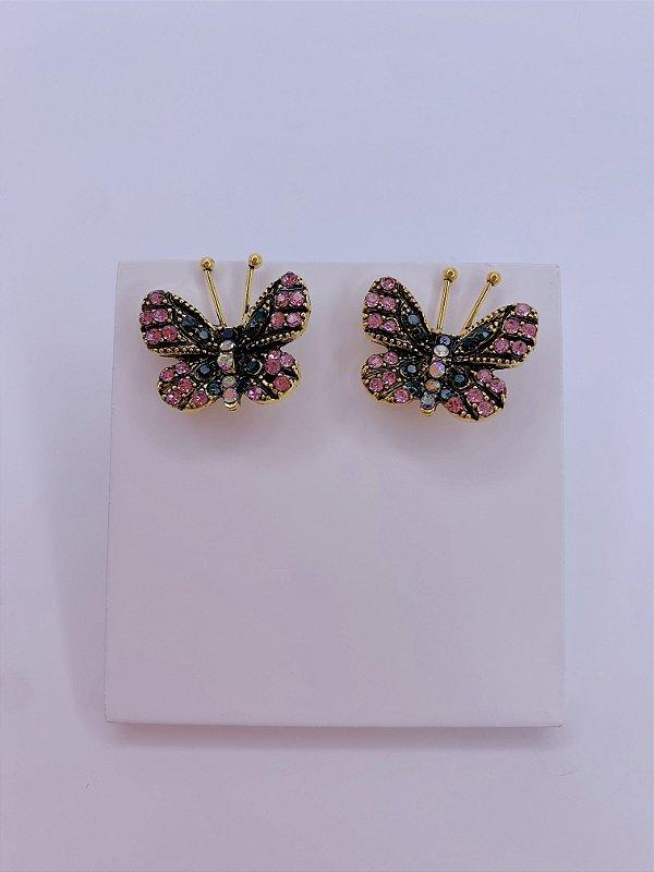 Brinco borboleta delicado com pedrinhas de strass