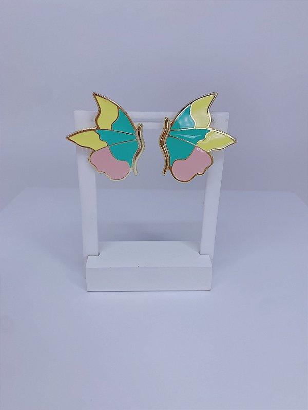 Brinco de borboleta esmaltada - rosa,amarelo e verde tiffany