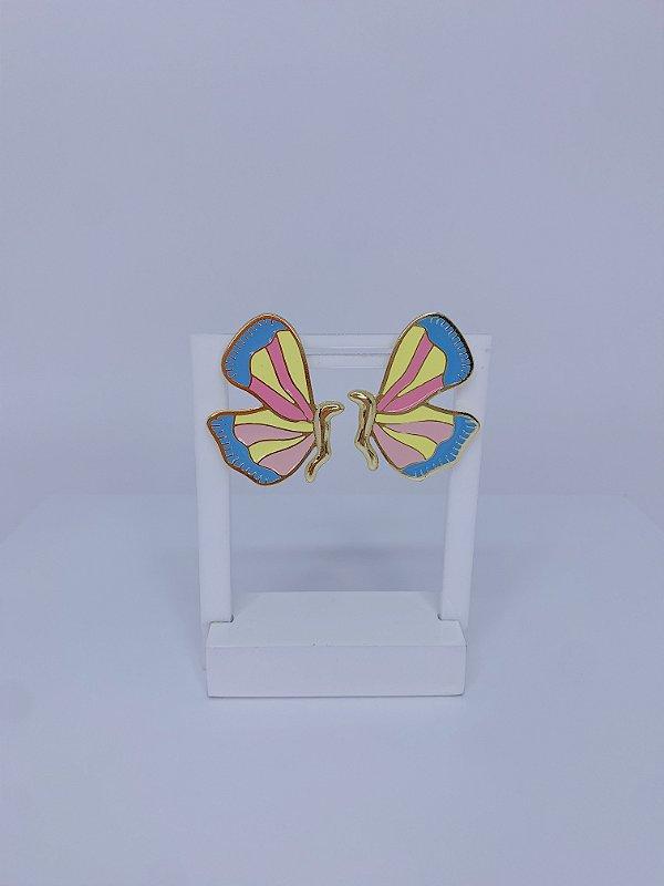 Brinco de borboleta esmaltada - azul, amarelo, rosa e rosa claro