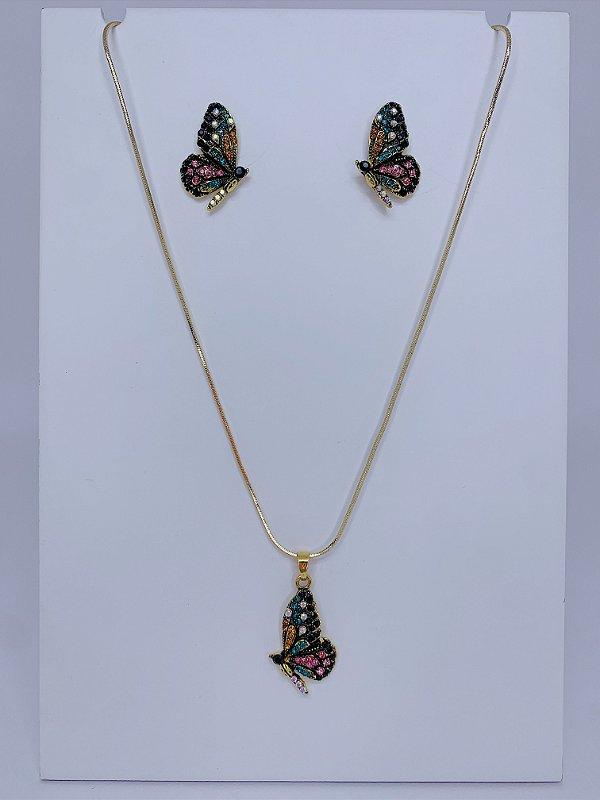 Conjunto colar e brinco borboleta com strass colorido
