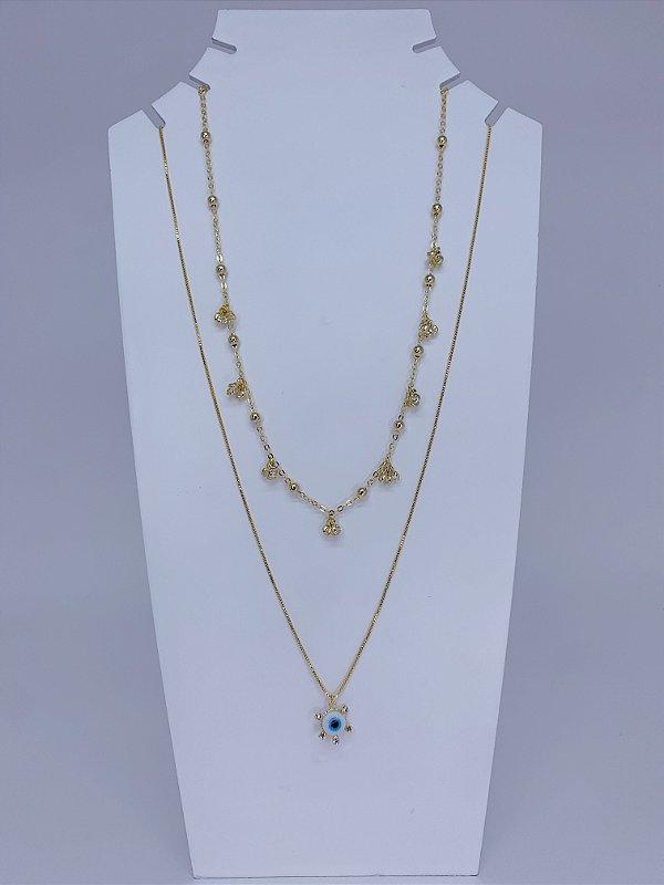 Mix duplo de colares individuais com pingente de olho grego, pedras e bolas menores - dourado