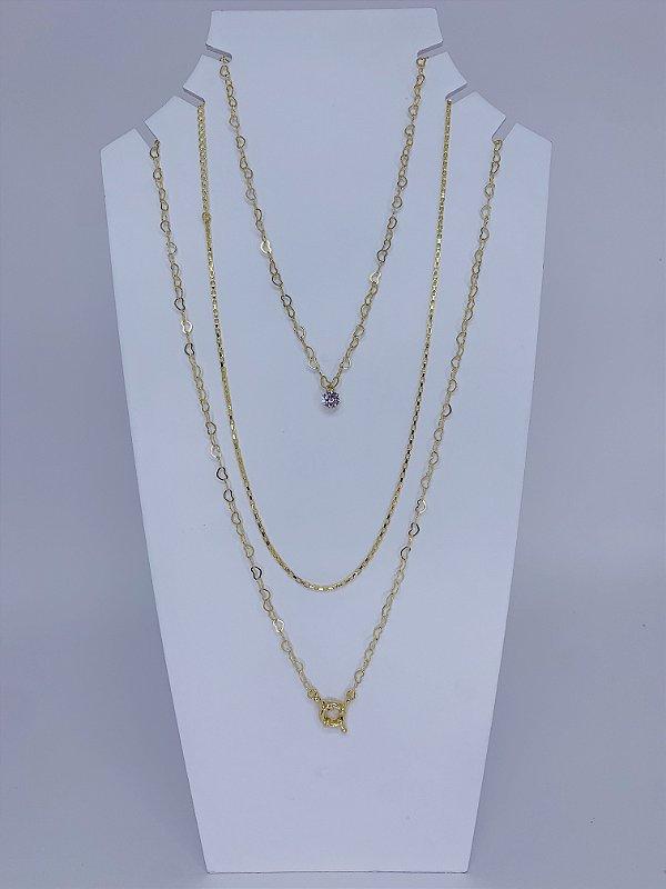 Mix de três colares individuais com pingente de pedra e mosquetão - dourado
