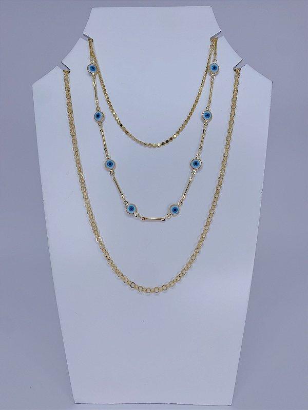Mix de três colares dourados individuais e olho grego - dourado