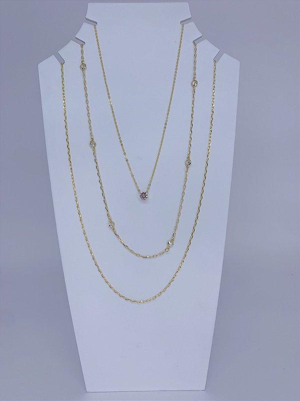 Mix de três colares individuais com pedrinhas - dourado