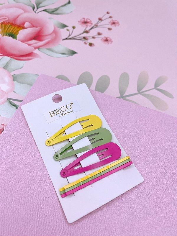 Kit presilha, tic-tac e grampo - amarelo, verde e rosa