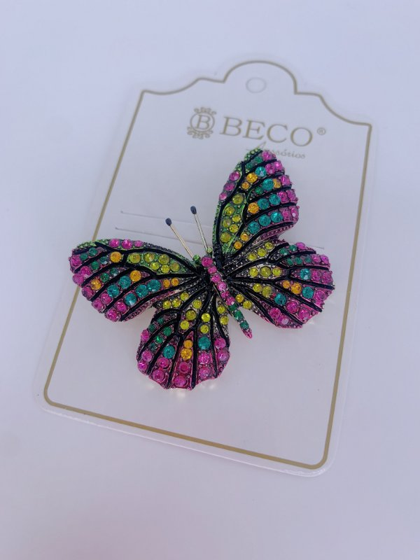 Broche borboleta com strass colorido