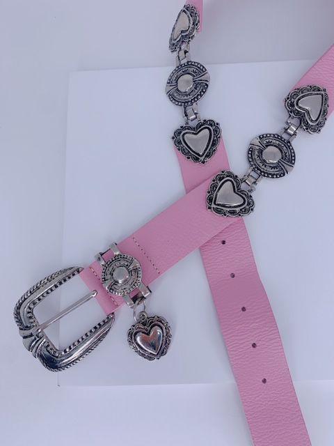 Cinto corações e pingentes rosa claro