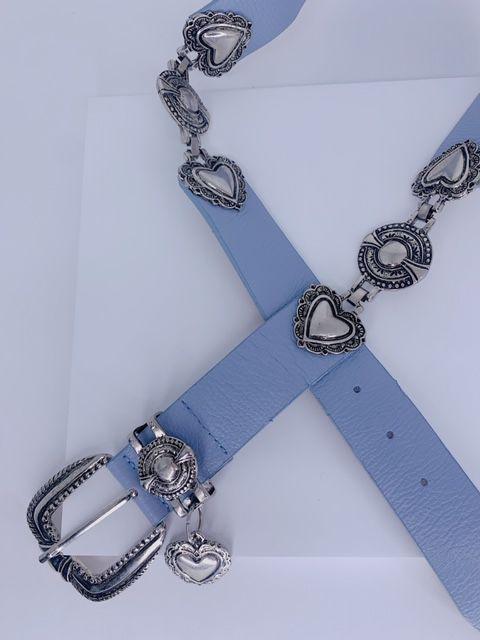 Cinto corações e pingentes azul