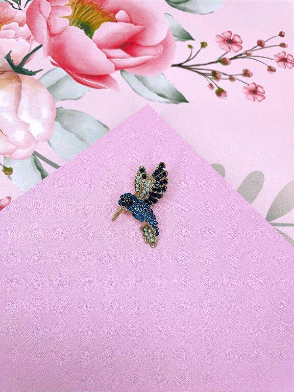 Broche Beija-flor com strass