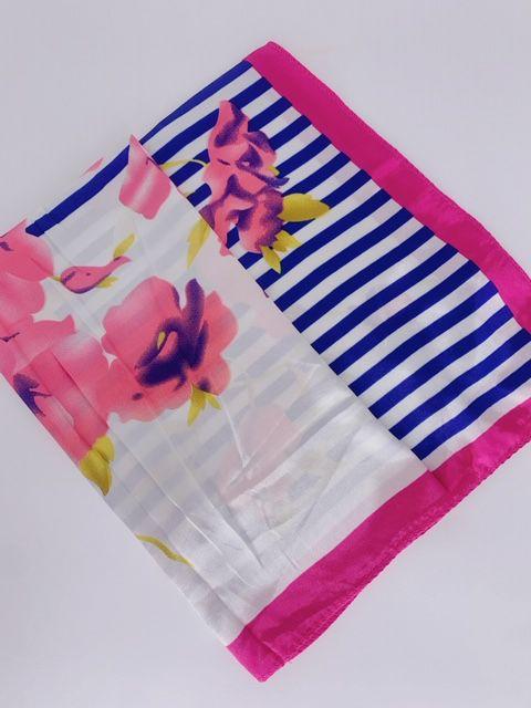 Lenço flores e listras pink