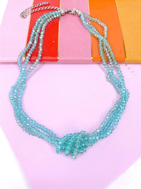 Colar miçangas cristal transparentes azul