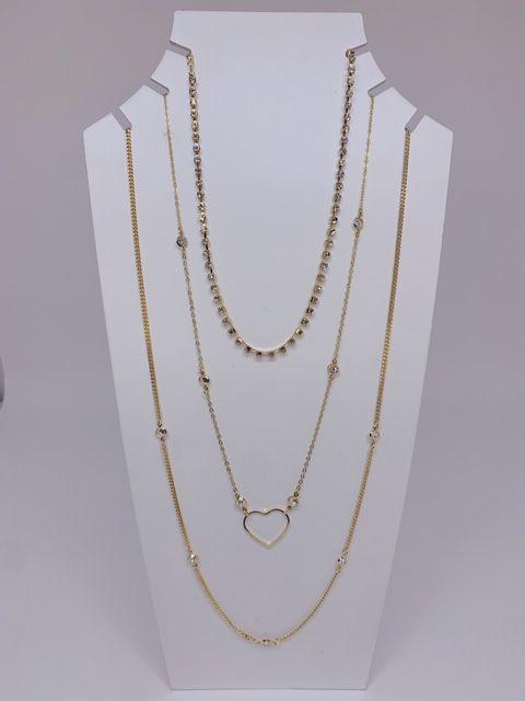 Mix colar com stras e coração vazado - prata ou dourado