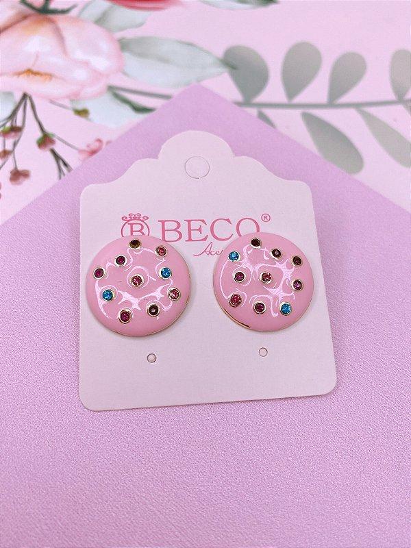 Brinco botão esmaltado com strass colorido - rosa