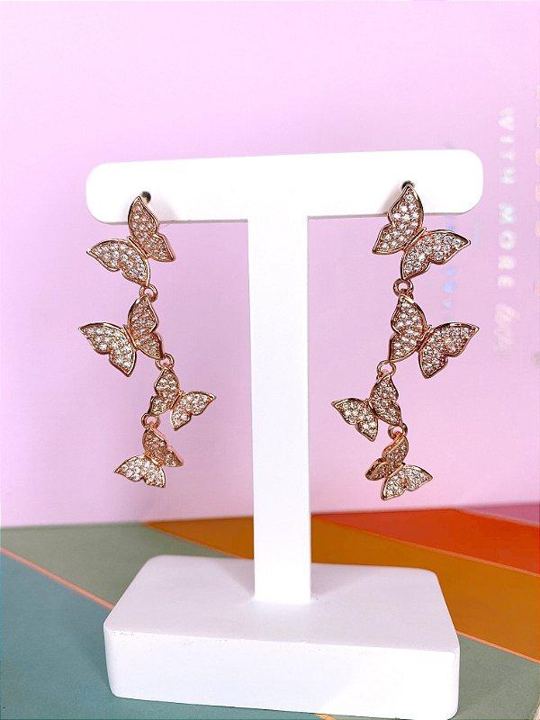 Brinco borboletas de zircônia - dourado
