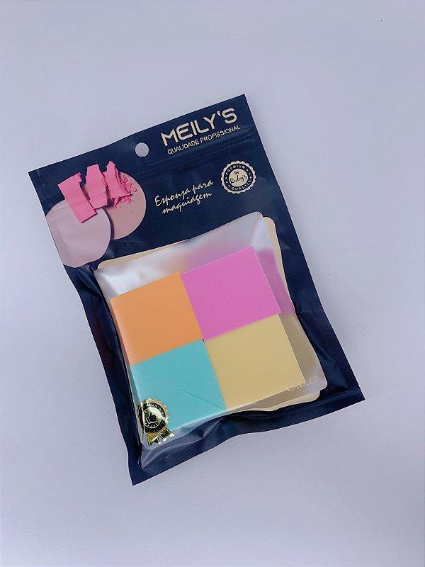 Kit com 4 esponjas cortadas - laranja, rosa, verde e amerelo