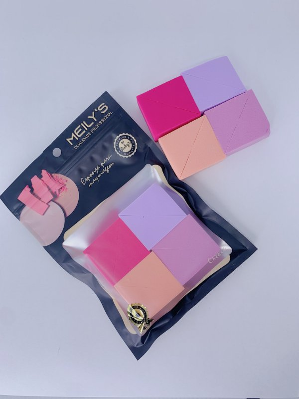 Kit com 4 esponjas cortadas - rosa, lavanda, coral e lilás