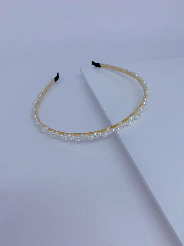 Arco metal fino e pérolas - dourado ou prata