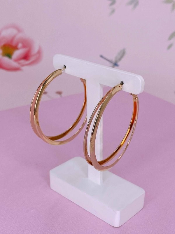 Brinco argola metal dois aros - dourado, rosê ou prata